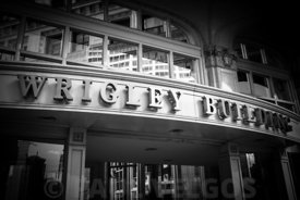 Chicago Wrigley Building Sign in Black and White