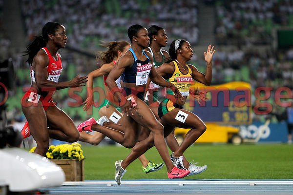 100m women's final.Carmelita Jeter (USA), Shelly-Ann Fraser - Pryce (JAM)