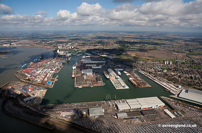 aerial photograph of  Tilbury Docks England UK