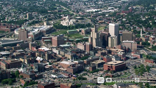 Flight approaching downtown Providence, Rhode Island, with view of Capitol.