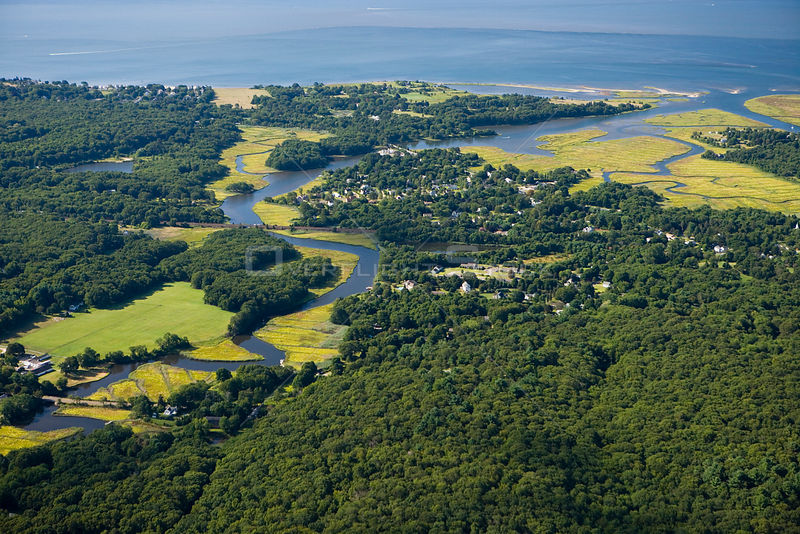 Aerial view of Black Hall River meeting the mouth of the Connecticut River in Old Lyme, Connecticut, USA, October 2006.