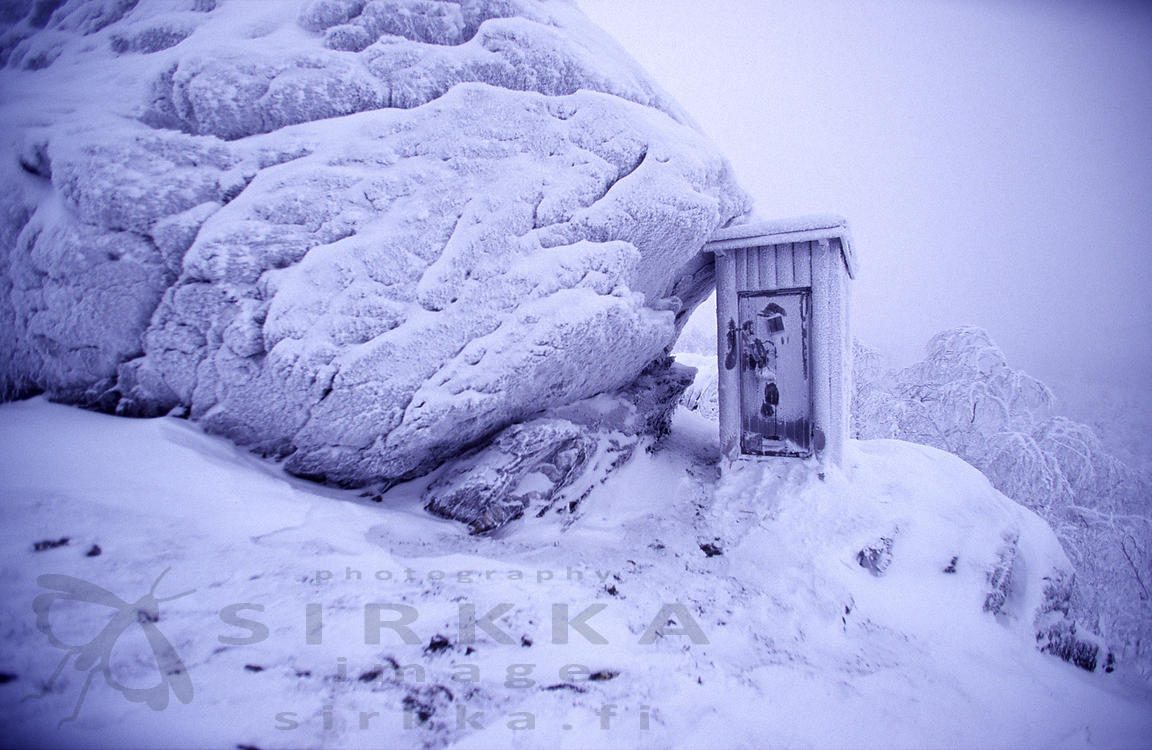 Outhouse on the top of the Korvatunturi Fell, Border zone between Finland and Russia