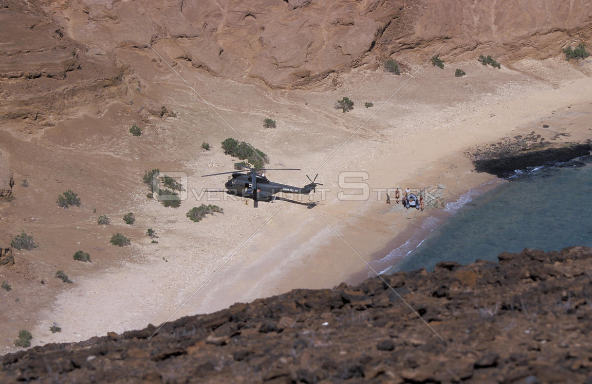 French army arriving by helicopter on Seven Brothers Is, Djibouti, East Africa
