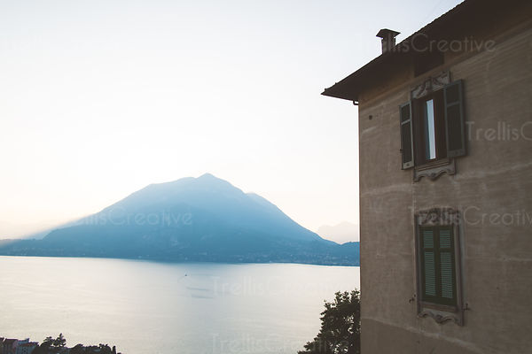 Sunsets behind the Dolomite Mountains along Lake Como (Lago di Como) from the hillside in Varenna, Italy