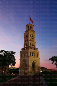 Moorish style clock tower at twilight, Plaza Prat, Iquique, Chile