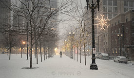 Heavy snow evening in Portland; Portland, Oregon, U.S.A.