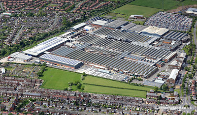 aerial photograph of the  Bentley Factory in  Crewe Cheshire England UK