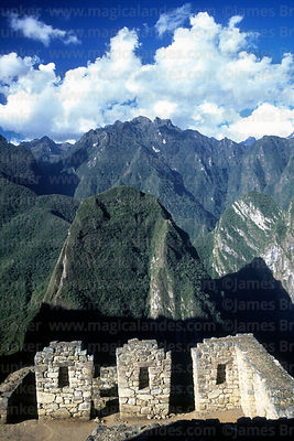 Inca houses, Putu Cusi mountain and Urubamba canyon, Machu Picchu, Peru