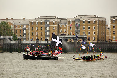 Cornish SS 634 double ended mackerel driver in  the Thames River Pageant