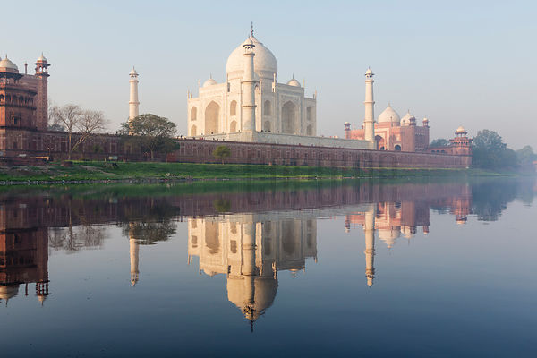 The Taj Mahal Reflected in the Yamuna River at Dawn