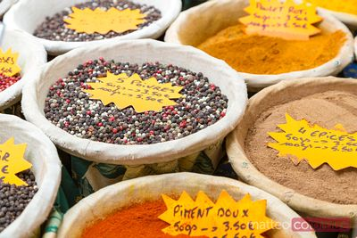 Spices at local farmers market, Provence, France