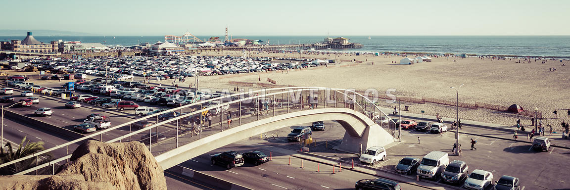 Santa Monica Pedestrian Bridge and Pier Panorama Photo