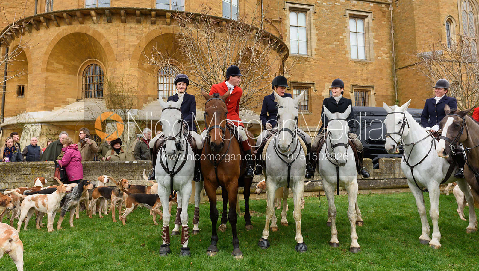 Lady Alice Manners, Otis Ferry, The Duchess of Rutland at the meet - The South Shropshire and Belvoir Hunts at Belvoir Castle...