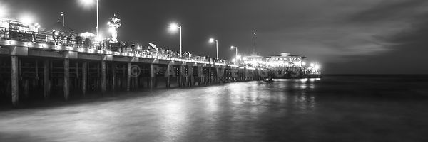 Santa Monica Pier at Night Black and White Panorama Photo