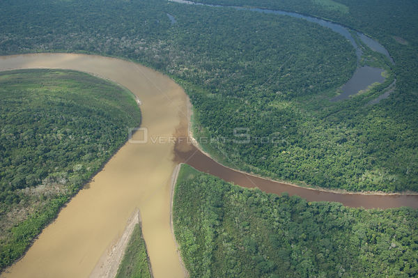 "Aerial view of the floodplain (""várzea"") of the Ichilo River and the Amazon Rainforest along its margins, in Santa Cruz Depar..."