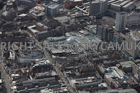Leeds aerial photograph looking down Bridgegate towards the Trinity Shopping centre