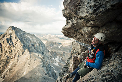 Paul Peterson, above the Needle, Owen-Spalding route, Grand Teton, Grand Teton National Park, Wyoming