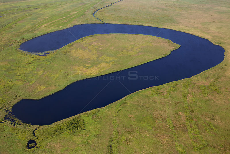 Aerial view of  Belcuig, an oxbow lake in the Danube  Delta Biosphere Reserve, Romania May 2014