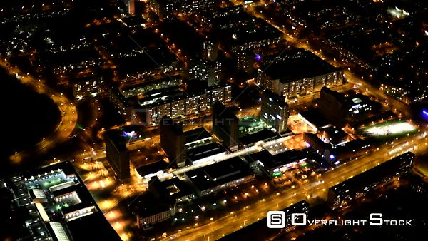 Night aerial video Neustadt district in the city area in Halle Saale in the state Saxony-Anhalt, Germany