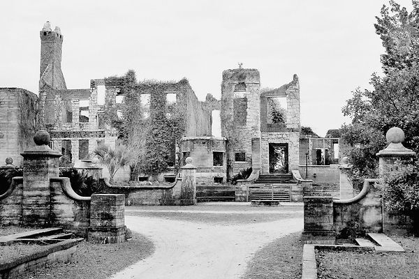 RUINS OF DUNGENESS CARNEGIE MANSION CUMBERLAND ISLAND GEORGIA BLACK AND WHITE
