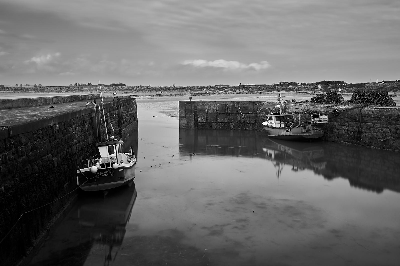 Boats in a harbour (B&W)