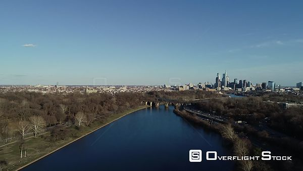 Winter view of the Schuylkill River towards Downtown Philadelphia