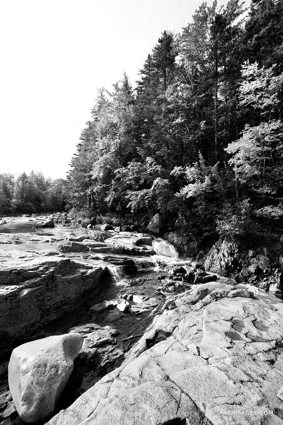 LOWER FALLS SWIFT RIVER KANCAMAGUS HIGHWAY BLACK AND WHITE NEW HAMPSHIRE VERTICAL