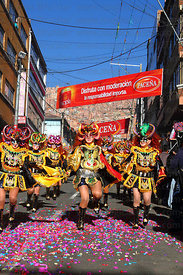 China Supay / female devils dancing the diablada during the Gran Poder festival, La Paz, Bolivia