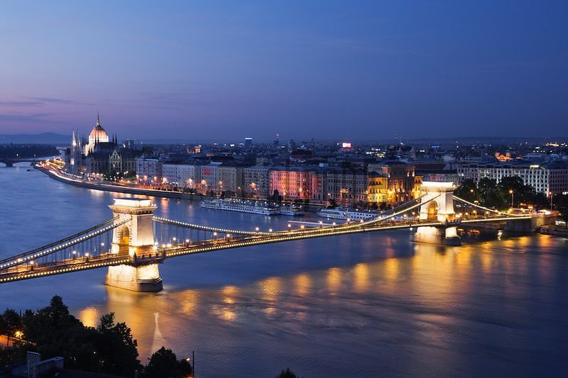The Chain Bridge and the Danube River at Dusk