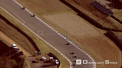 Aerial of a motorcycle race at Kyalami Race Track. Gauteng South Africa