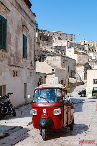 Typical Ape car in the streets of the old town, Matera, Italy