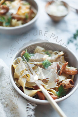 Chickpea flour pappardelle with wild mushrooms
