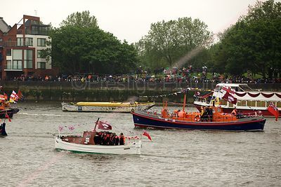 RNLB John and Frances MacFarlane and small Boat Douglas in  the Thames River Pageant