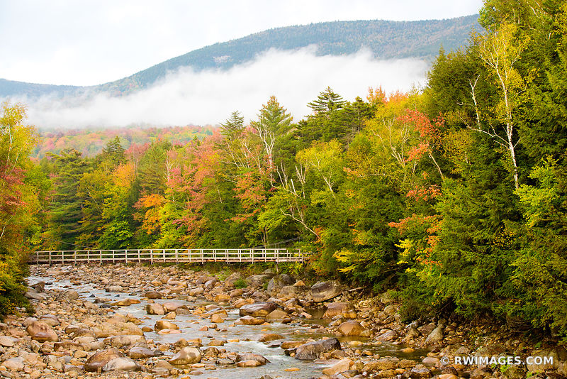 FALL COLORS AUTUMN FOLIAGE BRIDGE MOUNTAIN RIVER KANCAMAGUS HIGHWAY WHITE MOUNTAINS NEW HAMPSHIRE