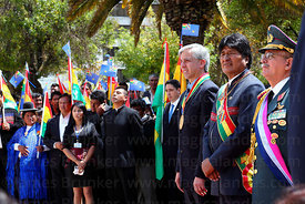 Bolivian president Evo Morales Ayma (2nd from right) and vice president Alvaro Garcia Linera (3rd from right) before official...