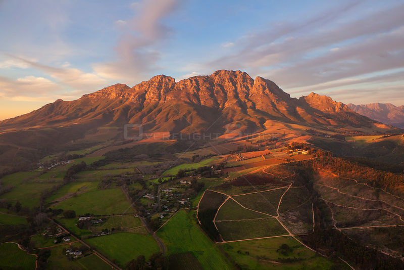 Aerial view of the Stellenbosch winelands. Stellenbosch, South Africa. August 2011. Non-ex.