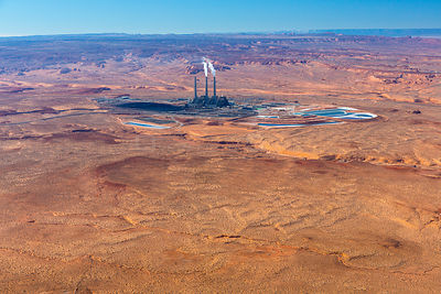 View of power plant, Colorado River, Lake Powell, Page, Arizona, USA, February 2015. Lake Powell is a reservoir on the Colora...