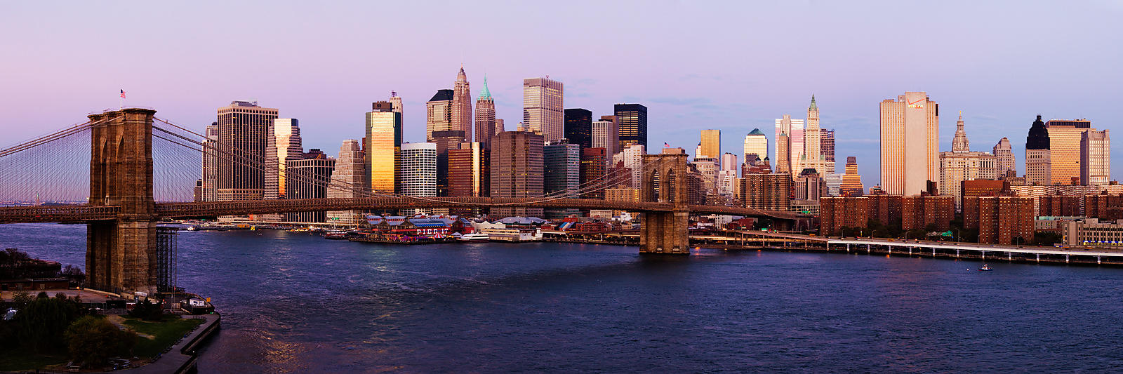 Lower Manhattan Skyline and Brooklyn Bridge at Dawn