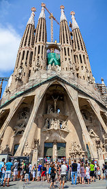 Tourists in Front of Sagrada Familia in Barcelona