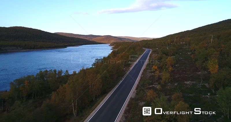 Autumn Color Road, Aerial View Over Road 970 the Tenontie, Near Tenojoki River the Border of Norway and Utsjoki, on a Sunny E...
