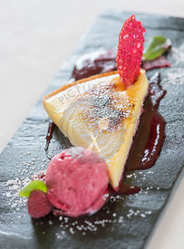 Creme Brulee Slice with raspberry ice cream.