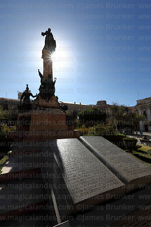 Carved stone book with text of the Proclamation of the Junta Tuitiva and Murillo monument, Plaza Murillo, La Paz, Bolivia