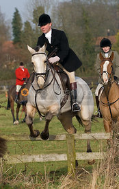 Jumping the first - The Cottesmore and West Norfolk Hunts at Gressenhall, Norfolk, 31/1/09