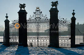 The gates of Burley House in the snow, Burley-on-the Hill, Rutland.