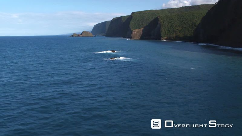 Fast flight over surf crashing on rocky reef off the coastal cliffs of Hawaii.