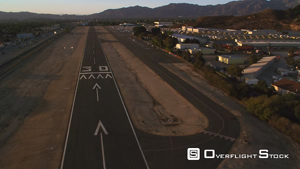 Aerial View of a Landing on a Runway at Whiteman Airport, California.