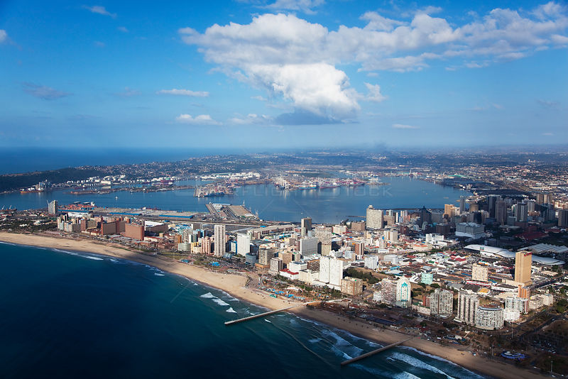 Aerial photograph of Durban Harbour and beach, KwaZulu-Natal Province, Breakwater, South Africa, May 2010