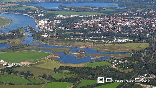 Bank areas along the river mouth of Wesel and Lippe in Wesel in the federal state of North Rhine-Westphalia
