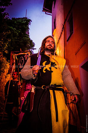 Swordman at night during a medieval festival