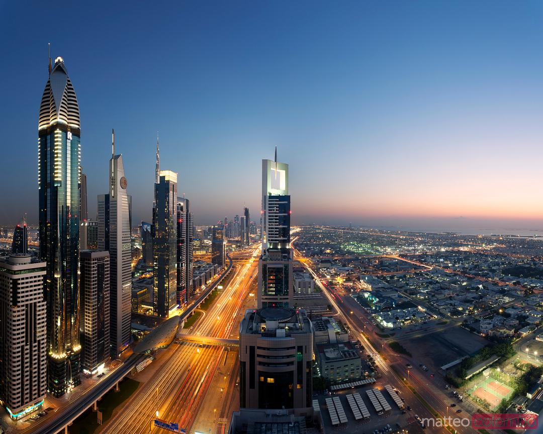 Dubai skyline at dusk, United Arab Emirates